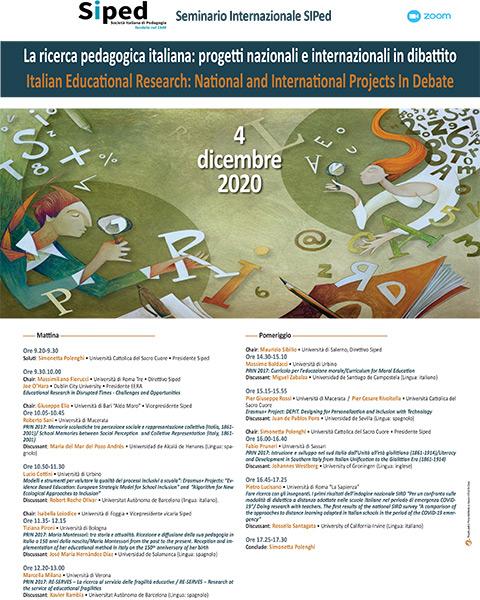 Seminario Internazionale - La ricerca pedagogica italiana - Locandina