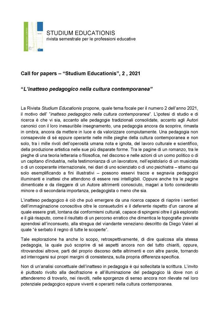 """Call for Papers rivista """"Studium Educationis"""" sul tema """"L'inatteso pedagogico nella cultura contemporanea"""" - Call"""