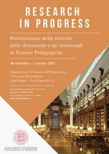"""Seminario """"Research in progress. Presentazione delle ricerche delle dottorande e dei dottorandi in Scienze Pedagogiche"""" - 30 settembre-1 ottobre, Bologna - Locandina"""