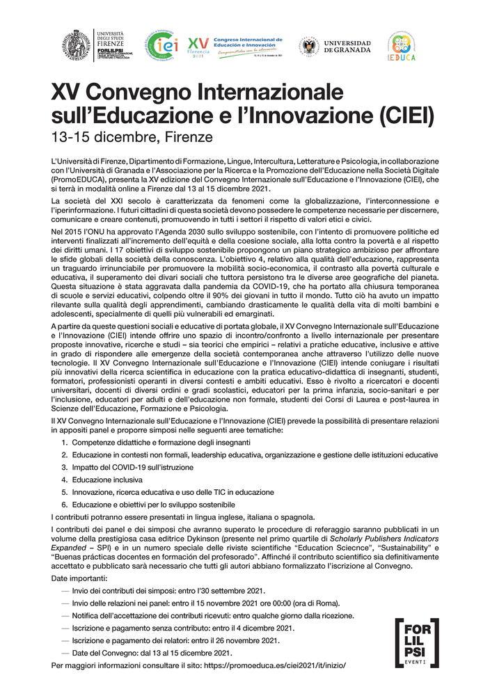 """XV """"Convegno Internazionale sull'Educazione e l'Innovazione (CIEI)"""" - 13-15 dicembre"""