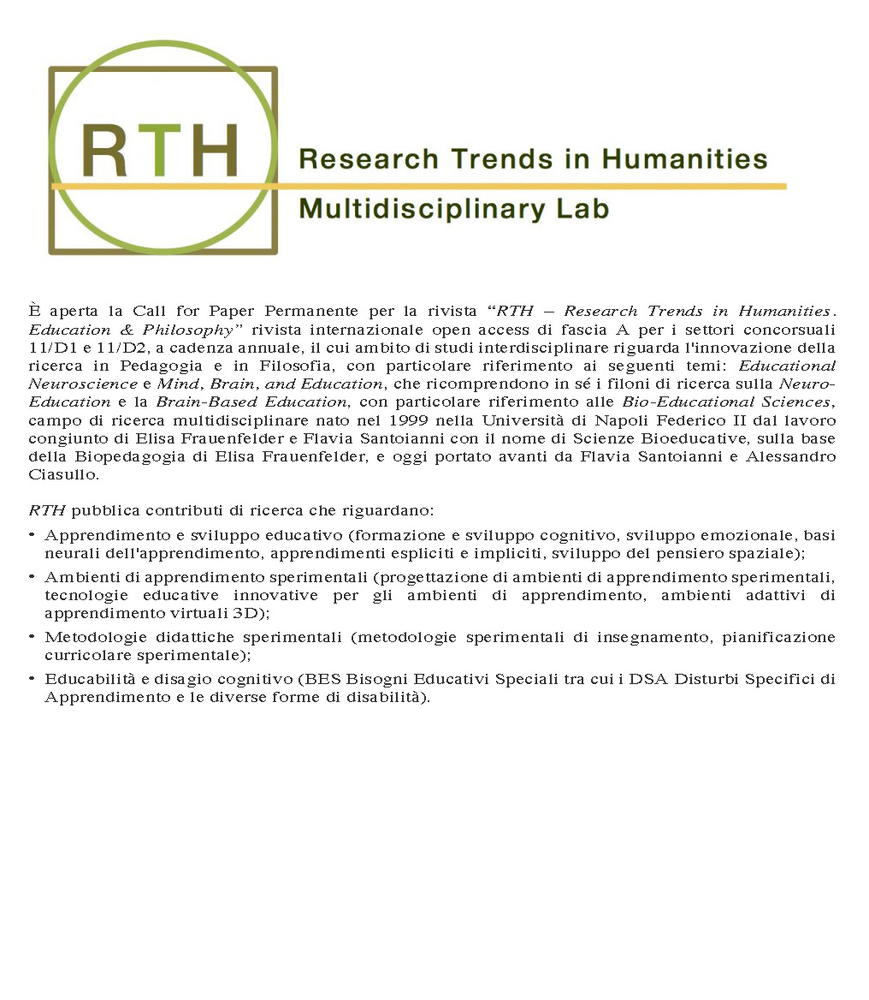 """Call for Papers rivista """"RTH - Research Trends in Humanities. Education & Philosophy"""" - Call"""