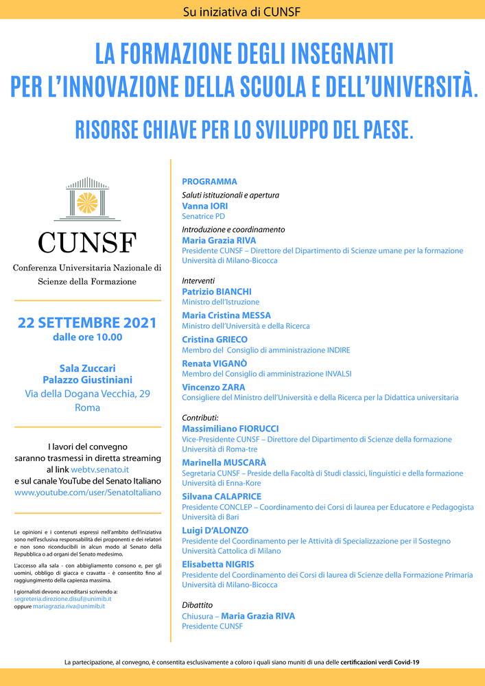"""Convegno """"La formazione degli insegnanti per l'innovazione della scuola e dell'università. Risorse chiave per lo sviluppo del Paese"""" - 22 settembre, Roma"""