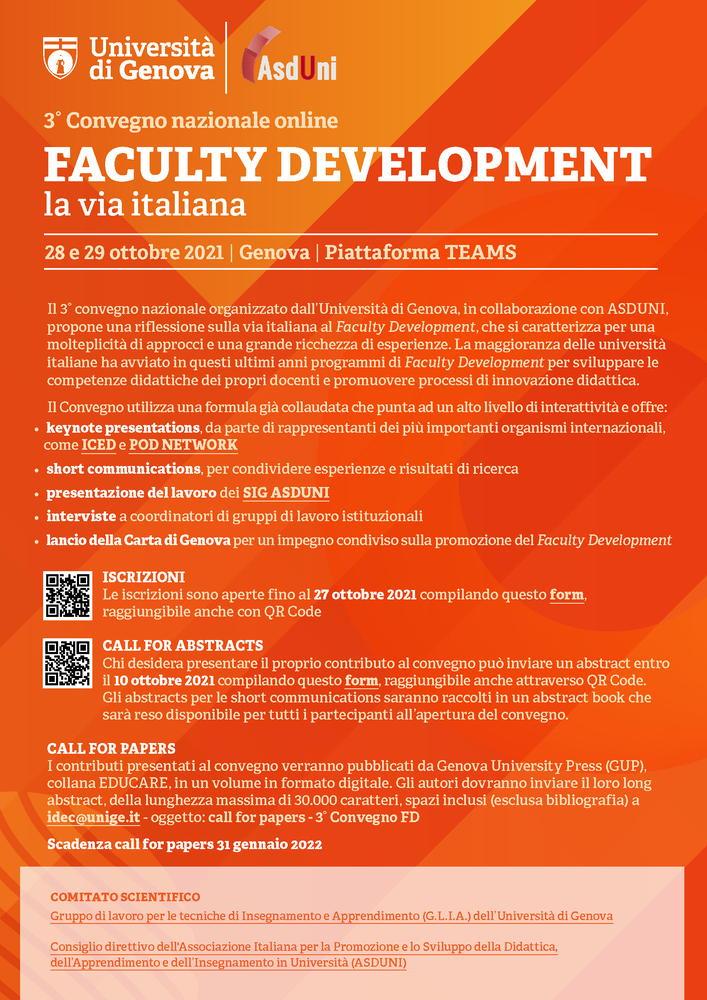 """Convegno nazionale """"Faculty Development. La via italiana"""" - 28-29 ottobre - Locandina"""