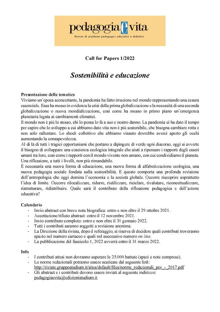 """Call for Papers rivista """"Pedagogia e Vita"""" sul tema """"Sostenibilità e educazione"""""""