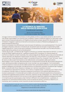 """Seconda Conferenza Nazionale PRIN RE-SERVES """"La ricerca al servizio delle fragilità educative"""" - 5-6 novembre - Locandina"""