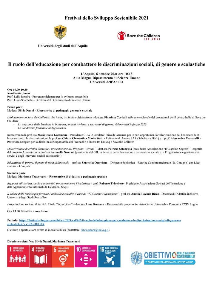 """Convegno """"Il ruolo dell'educazione per combattere le discriminazioni sociali, di genere e scolastiche"""" - 6 ottobre - Locandina"""
