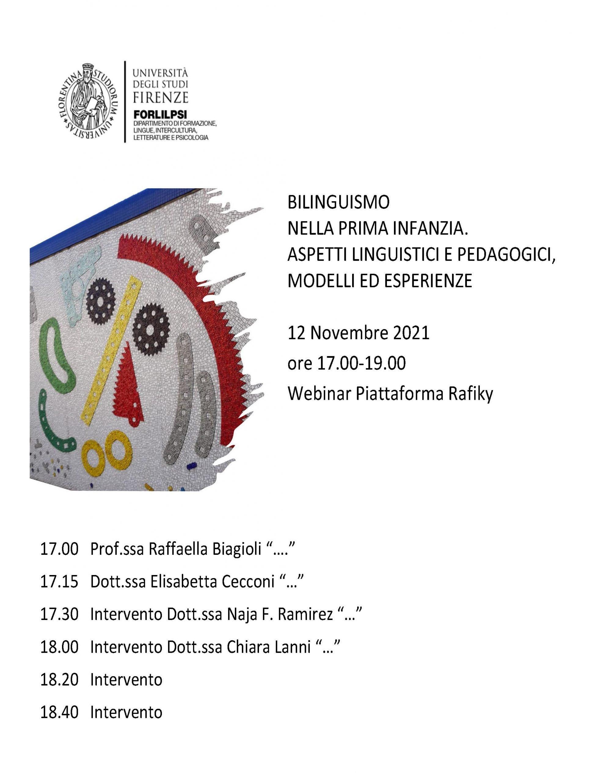 """Convegno """"Bilinguismo nella prima infanzia. Aspetti linguistici e pedagogici, modelli ed esperienze"""" - 12 Novembre - Locandina"""
