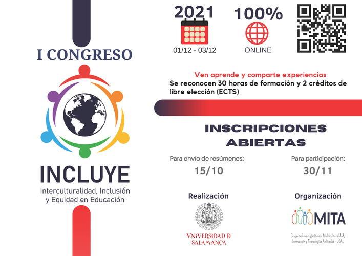 """I Congresso Internazionale di Interculturalità, Inclusione e Equità in Educazione """"INCLUYE 2021"""" - 1-3 dicembre"""