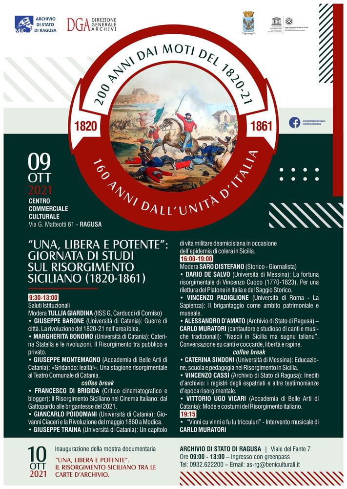 """Giornata di Studi sul Risorgimento Siciliano (1820-1861) """"Una, Libera e Potente"""" - 9 ottobre, Ragusa"""