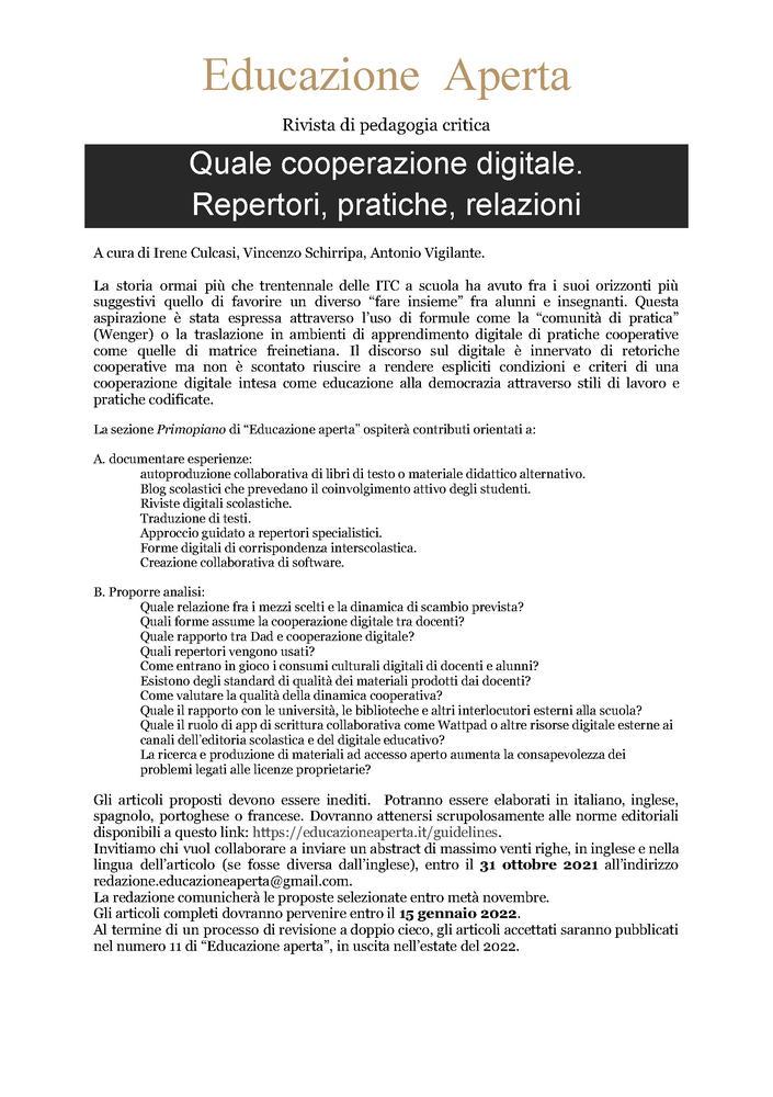 """Call for abstracts rivista """"Educazione Aperta"""" sul tema """"Quale cooperazione digitale? Repertori, pratiche, relazioni"""" - Call"""