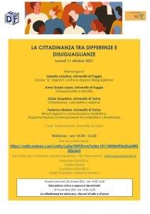 """Webinar """"La cittadinanza tra differenze e disuguaglianze"""" - 11 ottobre"""
