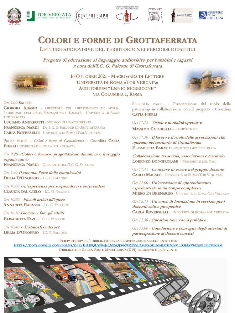 """Giornata di studi """"Colori e forme di Grottaferrata. Un progetto di educazione al linguaggio audiovisivo"""" - 16 ottobre, Roma - Locandina"""