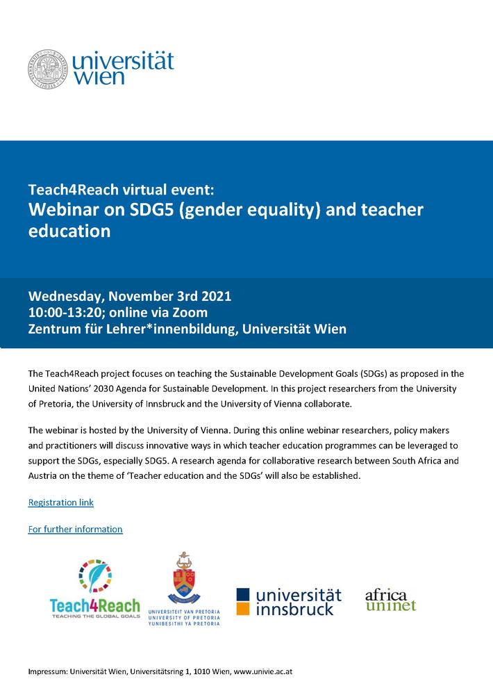 """Webinar on SDG5 (gender equality) and teacher education"" - 3 novembre - Locandina"