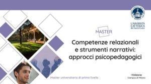 """Master """"Competenze relazionali e strumenti narrativi: approcci psicopedagogici"""" - febbraio 2022 - giugno 2023"""