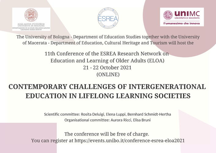 """11th Conference ESREA """"Contemporary challenges of intergenerational education in lifelong learning societies"""" - 21-22 ottobre"""