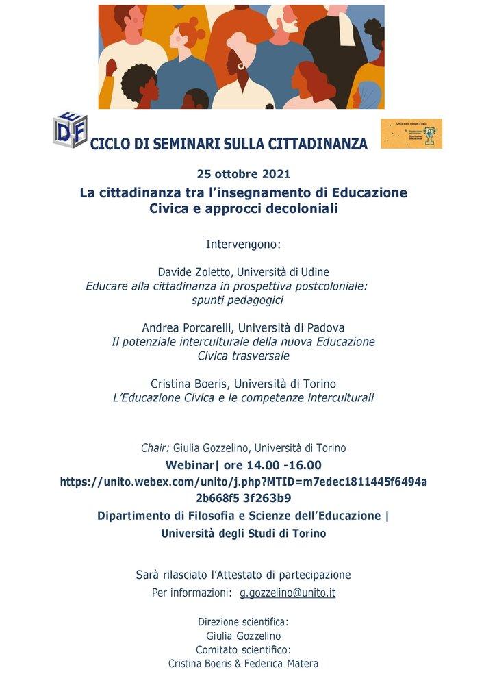 """Webinar """"La cittadinanza tra insegnamento di Educazione civica e approcci decoloniali"""" - 25 ottobre - Locandina"""