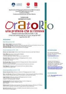 """Giornata di studi """"Oratorio. Una profezia che si rinnova"""" - 11 novembre - Milano"""