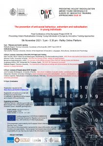 """Conferenza """"The Prevention of Antisocial Behaviour, Extremism and Radicalisation in Young Individuals"""" - 05 novembre"""